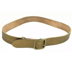 J.Crew Leather Metallic Bronze Belt Stitch Detail